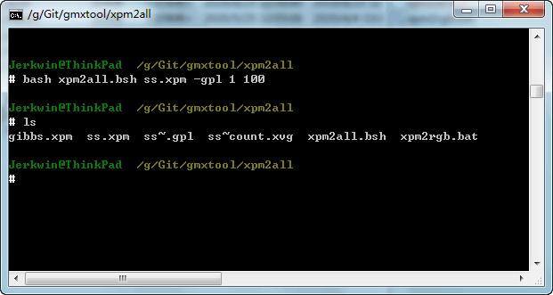 执行<code>bash xpm2all.bsh ss.xpm -gpl 1 100</code>, 计算残基1到100的相关数据, 得到二级结构演化数据<code>ss~.gpl</code>, 二级结构含量数据<code>ss~count.xvg</code>